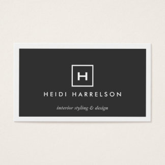MODERN & SIMPLE BOX LOGO w/ YOUR INITIAL/MONOGRAM Business Card