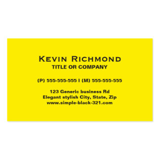 Modern simple bright yellow black business card