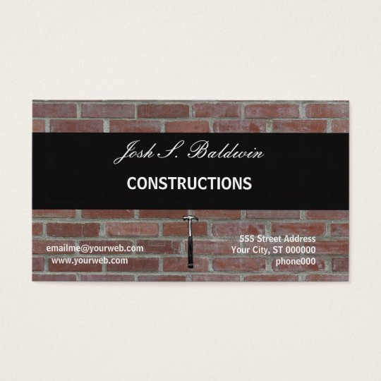 Modern Simple Builder  Brick Wall Construction Business Card