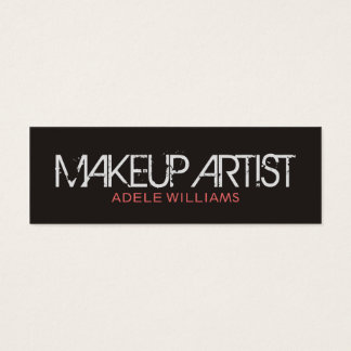 Modern Simple Chic Grey Pale Pink Makeup Artist Mini Business Card