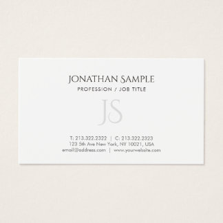 Modern Simple Chic Monogrammed Plain Trendy Business Card