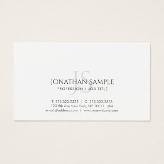 Modern Simple Chic Trendy Monogram Plain Business Card