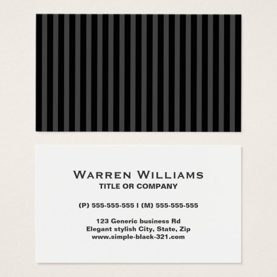 Modern simple elegant black gray stripes profile business card