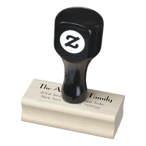 Modern Simple Elegant Plain Family Return Address Rubber Stamp