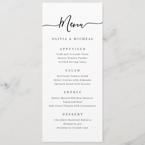 Modern simple elegant script wedding menu