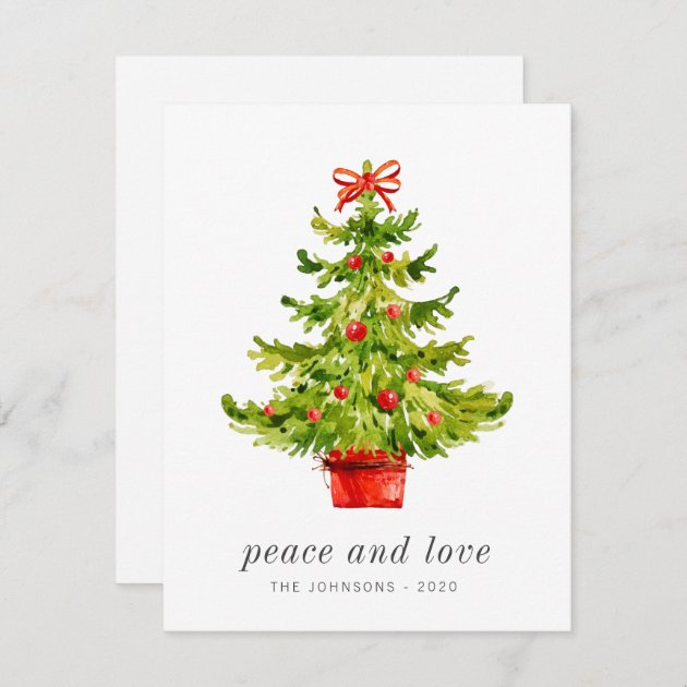 Modern Simple Elegant Watercolor Christmas Tree Holiday Card Zazzle Com