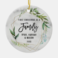 Modern Simple First Christmas As A Family Ceramic Ornament