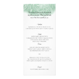 Modern Simple Flower in Mint Green Wedding Menu