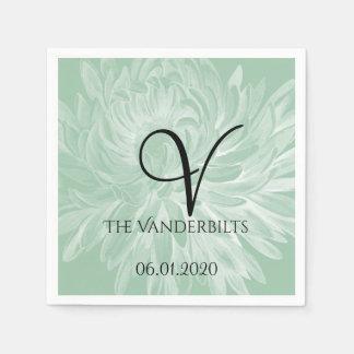 Modern Simple Flower in Mint Green Wedding Napkin