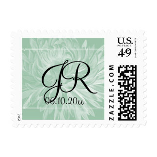 Modern Simple Flower in Mint Green Wedding Stamp