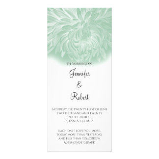 Modern Simple Flower in Mint Wedding Program
