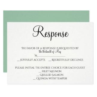 Modern Simple Flower in Mint Wedding Response Card