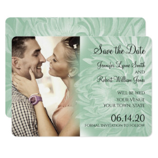 Modern Simple Flower in Mint Wedding Save the Date Card