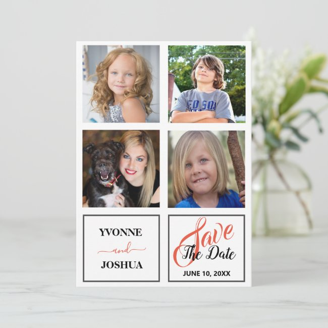 Modern Simple Four Square Photo Wedding Save The Date