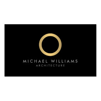 Modern Simple Gold Circle Black Business Card Pack Of Standard Business Cards