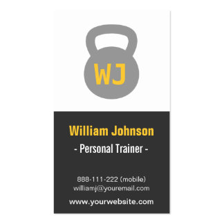 Modern Simple Gray Kettlebell Fitness Trainer Double-Sided Standard Business Cards (Pack Of 100)