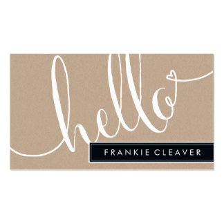 MODERN SIMPLE hello script trendy type kraft Double-Sided Standard Business Cards (Pack Of 100)