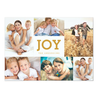Modern Simple Joy Holiday Photo Collage Card
