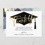 Modern Simple Minimalist Golden Graduation PHOTO Thank You Card
