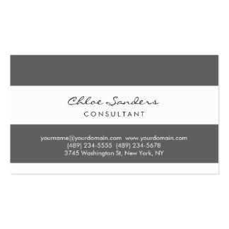 Modern Simple Minimalist Grey White Striped Business Card
