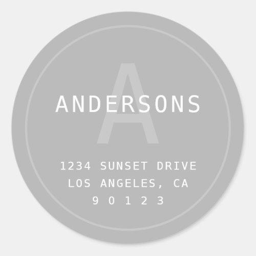 Modern Simple Monogram  Address  Light Grey Classic Round Sticker