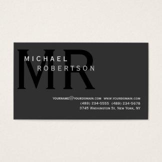 Modern Simple Monogram Gray Business Card