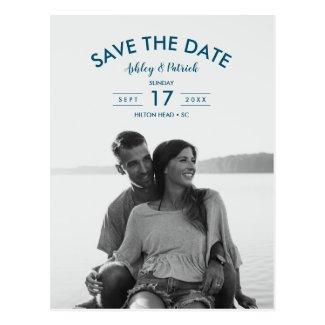 Modern Simple Ocean Seaside Wedding Save the Date Postcard