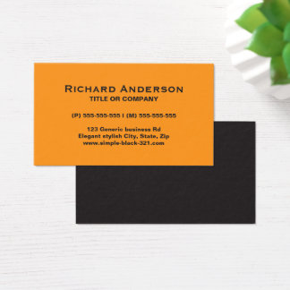 Modern simple orange black business card