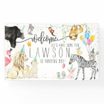 Modern Simple Party Animal Birthday Welcome Banner