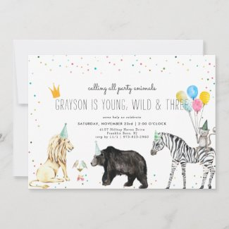 Modern Simple Party Animal Invitation