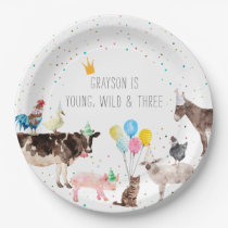 Modern Simple Party Farm Animal Watercolor Paper Plate