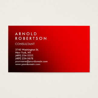 Modern Simple Plain Red Trendy Business Card