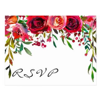 Modern Simple Red Rose RSVP Card