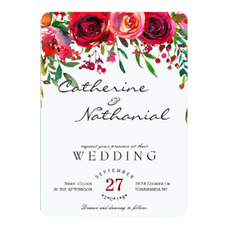 Modern Simple Red Rose Wedding Invitation