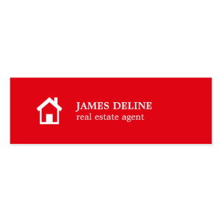 Modern Simple Red White House Realtor Double-Sided Mini Business Cards (Pack Of 20)