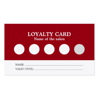 Modern Simple Red White Salon Loyalty Card Business Card