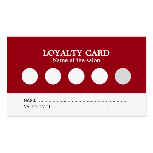 Modern simple red white salon loyalty card business card for Salon simple