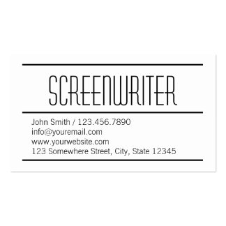 Modern Simple Screenwriter Business Card