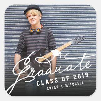 Modern Simple Script Graduate Grad Photo Sticker