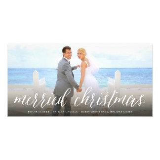 Modern Simple Script Merried Christmas Photo Card