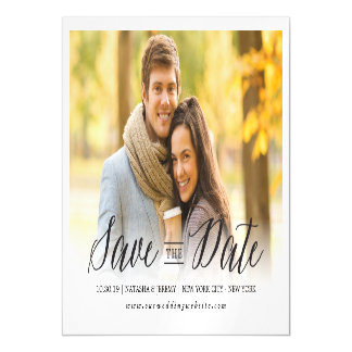 Modern Simple Script Save The Date Photo Magnetic