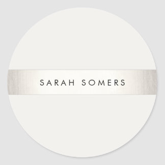 Modern Simple Silver and White Striped Classic Round Sticker