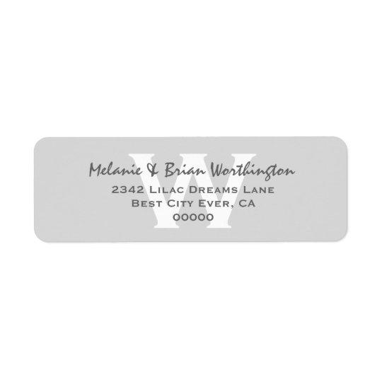 Modern Simple Silver Gray Monogram Wedding V12 Label