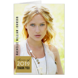 Modern Simple Square Graduation Thank You Card