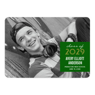 Modern Simple Square Photo Graduation Party Invite