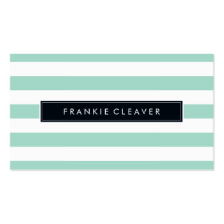 MODERN SIMPLE STRIPE PATTERN bold trendy mint Double-Sided Standard Business Cards (Pack Of 100)