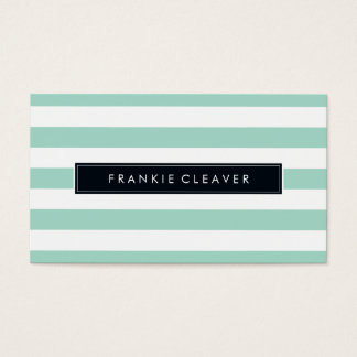 MODERN SIMPLE STRIPE PATTERN bold trendy mint Business Card