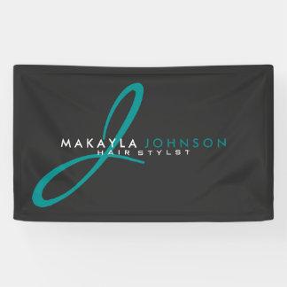 Modern & Simple Teal Blue Monogram Professional Banner