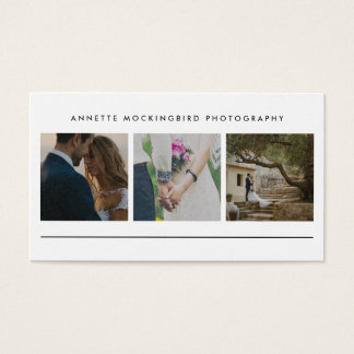 Modern Simple Three Photo | Minimalist Photography Business Card