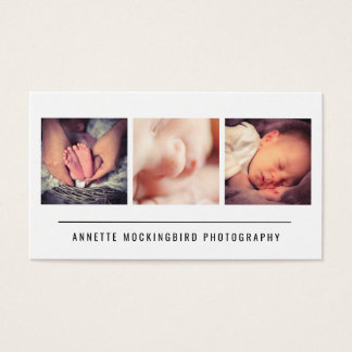 Modern Simple Three Photos Minimalist Photography Business Card